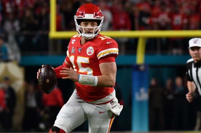 Patrick Mahomes (15) isn't allowed to participate in many off-field activities that could lead to injuries as part of the new contract he signed with the Kansas City Chiefs. File Photo by Kevin Dietsch/UPI