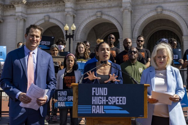 Sen. Kirsten Gillibrand, D-N.Y., and Reps. Alexandria Ocasio-Cortez, D-N.Y., and Seth Moulton, D-Mass., called on Congress to provide additional funding for high-speed rail in President Joe Biden's infrastructure plan.Photo by Tasos Katopodis/UPI