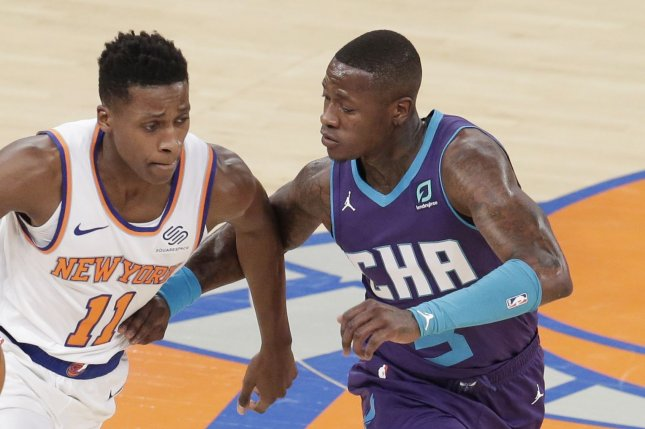 Charlotte Hornets guard Terry Rozier (R), shown Nov. 16, 2019, finished as the team's leading scorer last season at 20.4 points per game. File Photo by John Angelillo/UPI