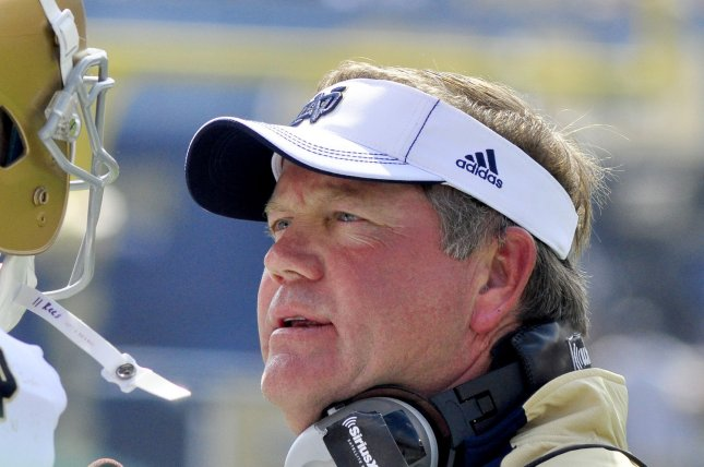 The Notre Dame Fighting Irish and head coach Brain Kelly have a bye this weekend before they travel to Philadelphia to play the unbeaten Temple Owls. File photo Archie Carpenter/UPI