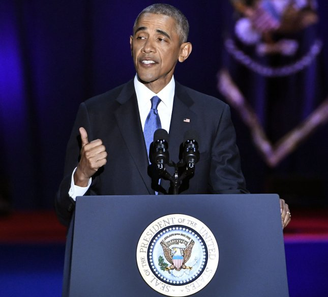 U.S. President Barack Obama delivers his farewell address to a crowd of supporters at McCormick Place in Chicago on January 10, 2017. Photo by David Banks/UPI