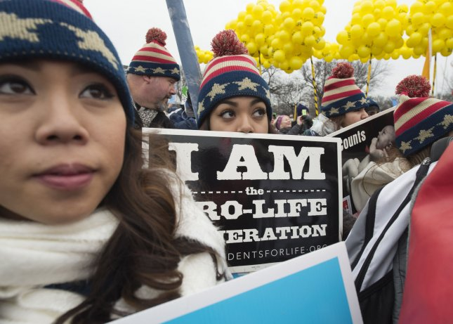 Abortion opponents rally before the March for Life in Washington, D.C., on January 22, 2016. The annual march will begin Friday at the National Mall and end at the Supreme Court, its traditional route. File Photo by Molly Riley/UPI