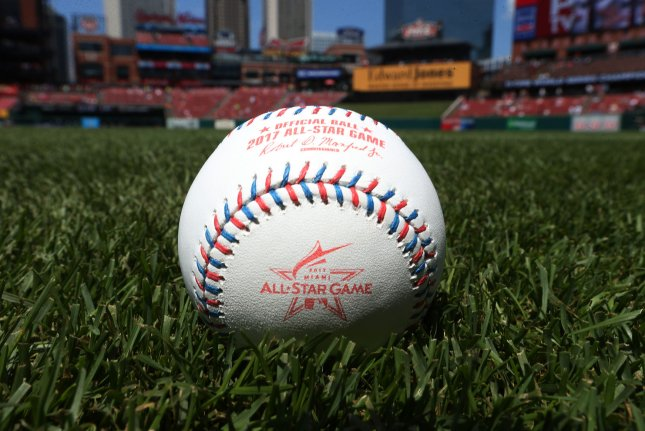 Rawlings Sporting Goods Company has released the official baseball that will be used for the 2017 All Star Game, shown at Busch Stadium in St. Louis on July 8, 2017. The All Star Game will be played in Miami on July 11. Photo by Bill Greenblatt/UPI