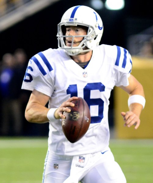 Indianapolis Colts quarterback Scott Tolzien scrambles during a preseason game against the Pittsburgh Steelers last month. Photo by Archie Carpenter/UPI