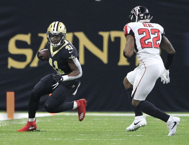 New Orleans Saints running back Alvin Kamara (41) looks for room to maneuver during a game against the Atlanta Falcons in December. Photo by AJ Sisco/UPI