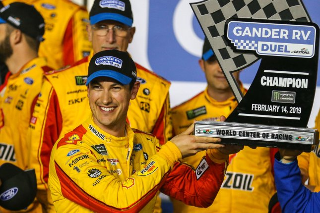 Joey Logano will start in the No. 4 spot in Sunday's Daytona 500 after winning Gander RV Duel No. 2 on Thursday at Daytona International Speedway in Daytona Beach, Fla. Photo by Mike Gentry/UPI