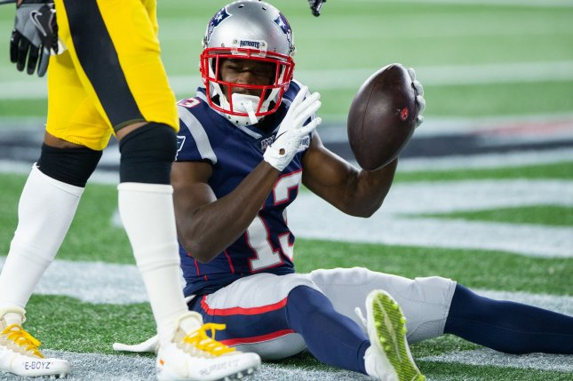 Phillip Dorsett (R) said he should have joined the Seattle Seahawks last off-season instead of re-signing with the New England Patriots. File Photo by Matthew Healey/UPI