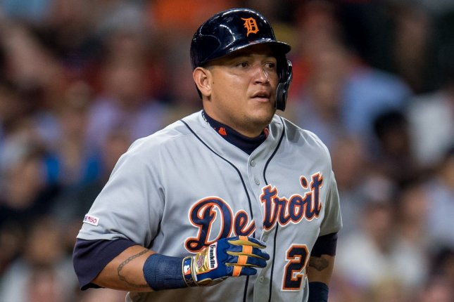 Detroit Tigers veteran Miguel Cabrera now needs just 20 home runs to reach 500 for his career after he hit two against the Kansas City Royals Thursday in Detroit. Photo by Trask Smith/UPI