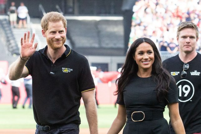 The Duke and Duchess of Sussex Prince Harry are shown in front. File Photo by Mark Thomas/UPI