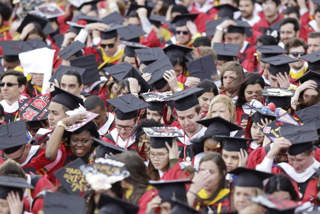 Graduates are pictured during a commencement ceremony at High Point Solutions Stadium at Rutgers University in Piscataway, N.J. File Photo by John Angelillo/UPI