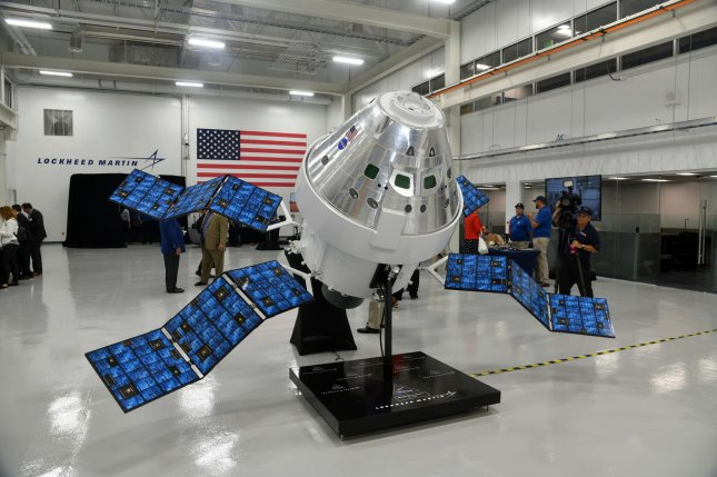 A model of NASA's Orion spacecraft is displayed at Lockheed Martin's new Spacecraft Test Assembly and Resource Center in Titusville, Fla., on Thursday. Photo by Joe Marino/UPI