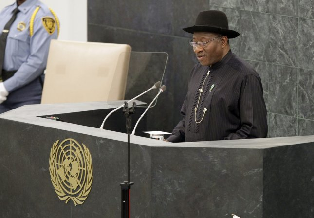 Nigerian President Goodluck Jonathan addresses the United Nations General Assembly in New York in 2013. A bomb went off in Gombe on Monday not long after a Jonathan campaign rally.