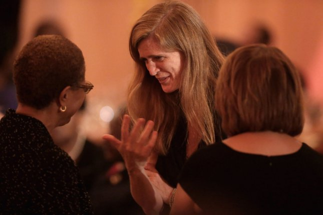 The United States' U.N. Ambassador Samantha Power distributed a draft resolution to the U.N. general assembly to implement the agreement over Iran's nuclear program. File Photo by Chip Somodevilla/Pool