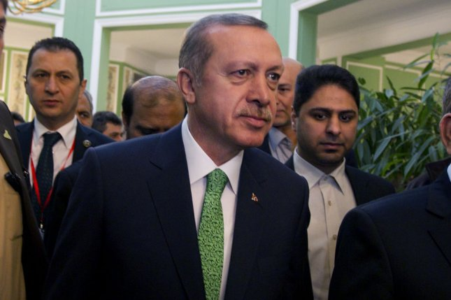 Turkish Prime Minister Recep Tayyip Erdogan, seen here in 2014, cited Adolf Hitler's reign over Nazi Germany as a historic example of presidential leadership. Erdogan is pushing for a presidential form of government and a new constitution. File Photo by Maryam Rahmanian/UPI