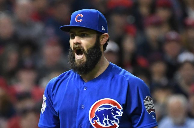 7fde7502f88 Chicago Cubs starting pitcher Jake Arrieta reacts after retiring the  Cleveland Indians in the second inning of game 6 of the World Series at  Progressive ...