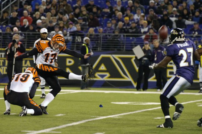 Shayne Graham (17), the most accurate kicker in Cincinnati Bengals history, announced Monday that he is retiring after 15 NFL seasons. File Photo by Mark Goldman/UPI