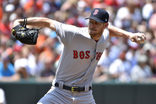Boston Red Sox starting pitcher Chris Sale delivers a pitch. File photo by David Tulis/UPI
