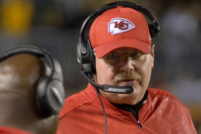 Kansas City Chiefs head coach Andy Reid on the sidelines at Heinz Field against the Pittsburgh Steelers in Pittsburgh on October 2, 2016. File photo by Archie Carpenter/UPI