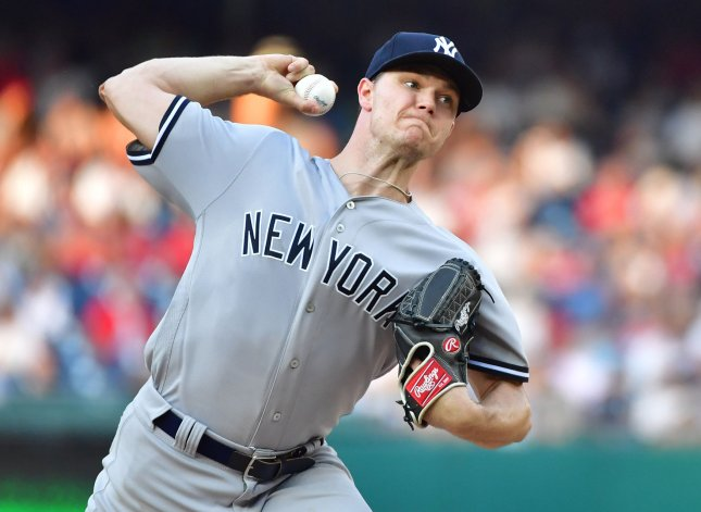 Sonny Gray and the New York Yankees square off with the Minnesota Twins on Tuesday. Photo by Kevin Dietsch/UPI
