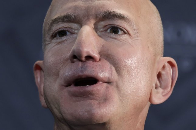 Jeff Bezos, CEO and Founder, Amazon speaks at The Economic Club Milestone Celebration Dinner in Washington on September 13, 2018. Elkan Abramowitz, who represents American Media, Inc. CEO David Pecker, told ABC News Sunday the National Enquirer was practicing journalism and not extortion in negotiations to publish intimate photos of Bezos and his girlfriend Lauren Sanchez. FIle Photo by Yuri Gripas/UPI