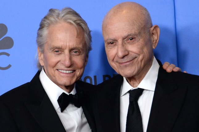 Michael Douglas (L) with his Kominsky Method co-star Alan Arkin. Douglas will be receiving the prestigious Crystal Nymph award at the Monte-Carlo Television Festival. File Photo by Jim Ruymen/UPI