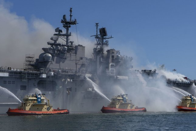 Sailors and federal firefighters combat a fire onboard USS Bonhomme Richard at Naval Base San Diego on July 12. Photo by MC3 Christina Ross/U.S. Navy
