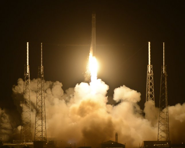 Spacex's Falcon 9 rocket launches the Dragon spacecraft at 3:44 AM from Complex 40 at the Cape Canaveral Air Force Station on May 22, 2012. Launched for NASA, Dragon will be the first privately owned vehicle to fly to the International Space Station as part of the Commercial Orbital Transportation Services (COTS) Program. After the spacecraft performs a series of maneuvers to assure its readiness, the Station's robotic arm will grapple the spacecraft and berth it to the outpost. On this mission, Dragon will deliver over 1,000 pounds of cargo and experiments to the station. .UPI/Joe Marino-Bill Cantrell