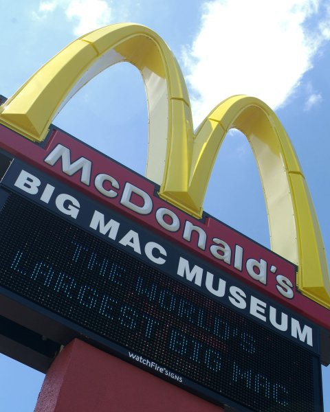 The sign of the Big Mac sandwich is seen in North Huntingdon, Pennsylvania on August 27, 2007. The museum honors McDonald's famous Big Mac sandwich which was first introduced in 1967 by McDonald's franchise owner Jim Delligatti in Uniontown, Pennsylvania. (UPI Photo/Archie Carpenter)