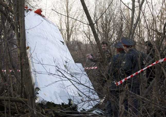 Wreckage of the plane that crashed and killed Polish President Lech Kaczynski, his wife, government officials, military leaders and others is seen near Smolensk in western Russia on April 10, 2010. UPI Photo/Alex Natin