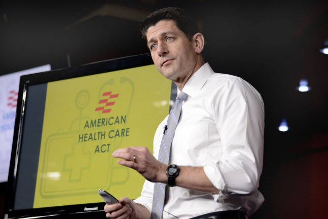 House Speaker Paul Ryan of Wisconsin briefs the press on points of the Republican-sponsored American Health Care Act at the U.S. Capitol on Thursday. Photo by Mike Theiler/UPI