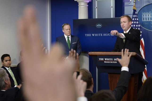 White House Budget Director Mick Mulvaney speaks about the 2017 budget during the press briefing on Thursday. He defended deep cuts to social programs like Meals on Wheels as compassionate for taxpayers. Pool photo by Olivier Douliery/UPI