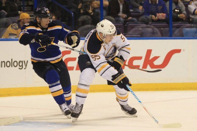 Buffalo Sabres defenseman Rasmus Ristolainen (55) has been suspended for three games without pay for a late hit against Pittsburgh Penguins forward Jake Guentzel (not pictured) on Tuesday. File Photo by Bill Greenblatt/UPI