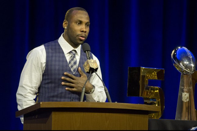 Walter Payton NFL Man of the Year Award finalist Anquan Boldin speaks to the press at the media center in 2016 for Super Bowl 50 in San Francisco, Calif. File photo by Terry Schmitt/UPI