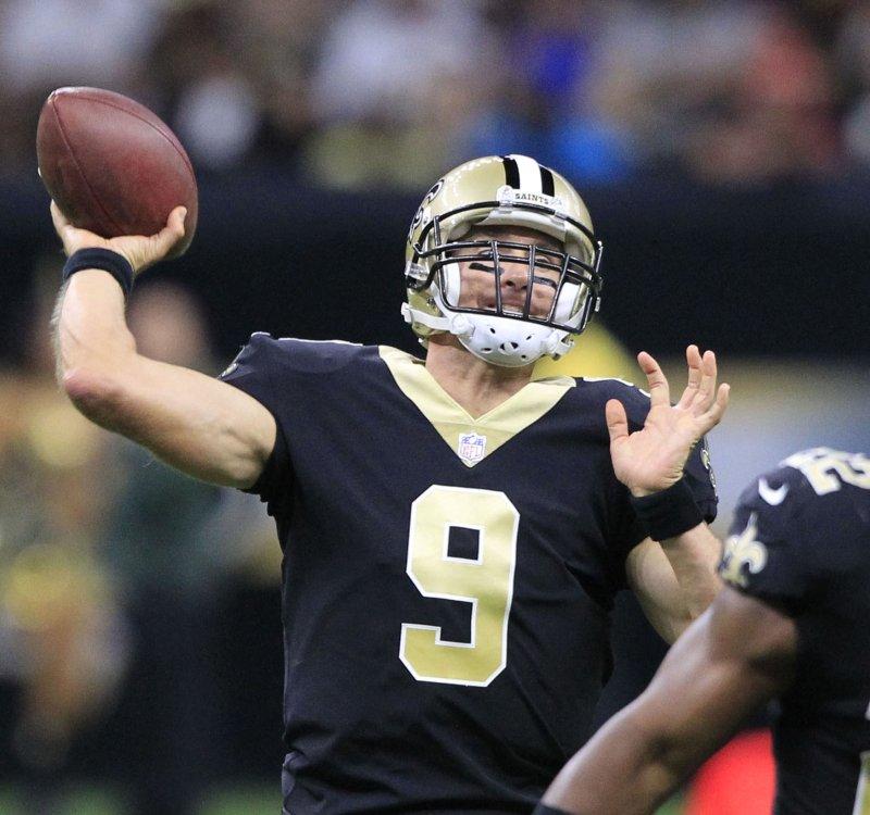 New Orleans Saints quarterback Drew Brees throws against the Houston Texans during their preseason game Saturday. Photo by AJ Sisco/UPI