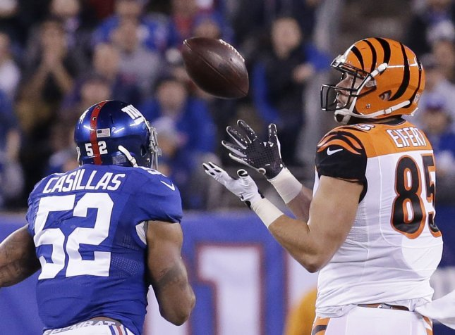 Cincinnati Bengals tight end Tyler Eifert hauls in a pass during a game against the New York Giants in 2016. Photo by John Angelillo/UPI