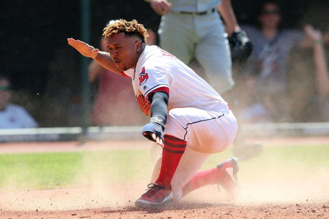 Cleveland Indians star Jose Ramirez reacts after scoring on a sacrifice fly from Jan Gomes in the eighth inning of a game against the New York Yankees on July 15 at Progressive Field in Cleveland. Photo by Aaron Josefczyk/UPI