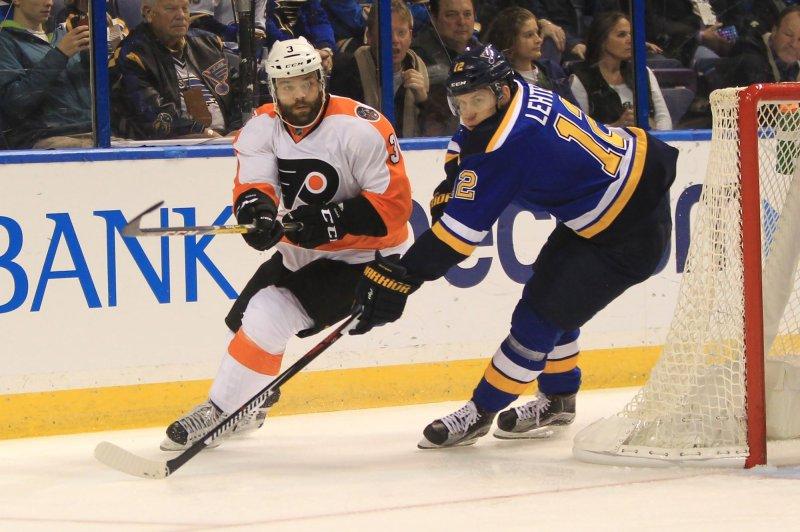 Philadelphia Flyers defenseman Radko Gudas (L) was suspended two games after high-sticking Tampa Bay forward Nikita Kucherov on Tuesday. File Photo by Bill Greenblatt/UPI