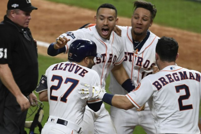 ALCS MVP Jose Altuve went 2 for 4 with two RBIs, three runs scored and a walk in the Houston Astros win against the New York Yankees in Game 6 of the ALCS on Saturday in Houston. Photo by Trask Smith/UPI