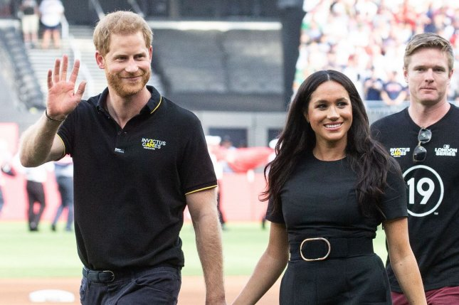 Prince Harry (L) and Meghan Markle released their first podcast episode on Spotify, which features a cameo from their 19-month-old son, Archie. File Photo by Mark Thomas/UPI