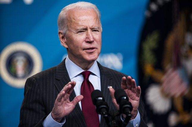 President Joe Biden announces changes to the Paycheck Protection Program at the Eisenhower Executive Office Building in Washington, D.C., on Monday. Photo by Jim Lo Scalzo/UPI