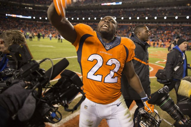 Denver Broncos running back C.J. Anderson, who scored the winning touchdown, after the game against the Pittsburgh Steelers during the AFC Divisional game at Sports Authority Field at Mile High in Denver on January 17,2016. Denver defeated Pittsburgh 23-16 to advance to the AFC championship game in Denver against the New England Patriots. Photo by Gary C. Caskey/UPI
