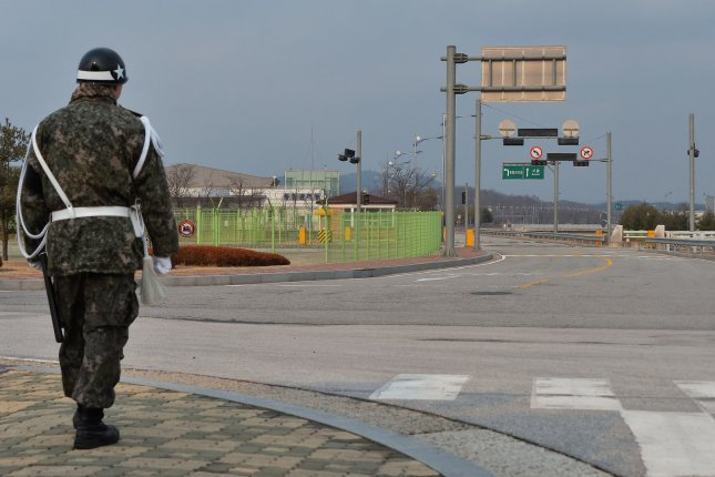 A South Korean soldier stands guard at the Dorasan Station in the Civilian Control area near the demilitarized zone in Paju, South Korea, on February 18. File Photo by Keizo Mori/UPI