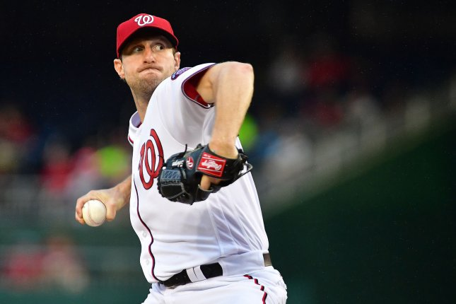 Washington Nationals starting pitcher Max Scherzer (31) pitches against the Miami Marlins in the second inning at Nationals Park in Washington, D.C. on August 7, 2017. Photo by Kevin Dietsch/UPI