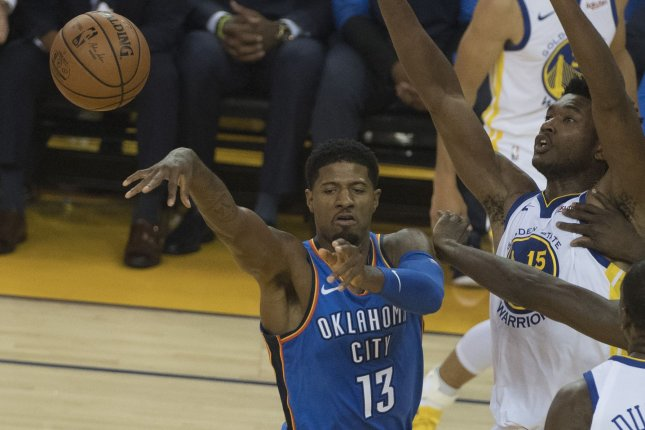 Paul George and the Oklahoma City Thunder host the Houston Rockets on Thursday. Photo by Terry Schmitt/UPI