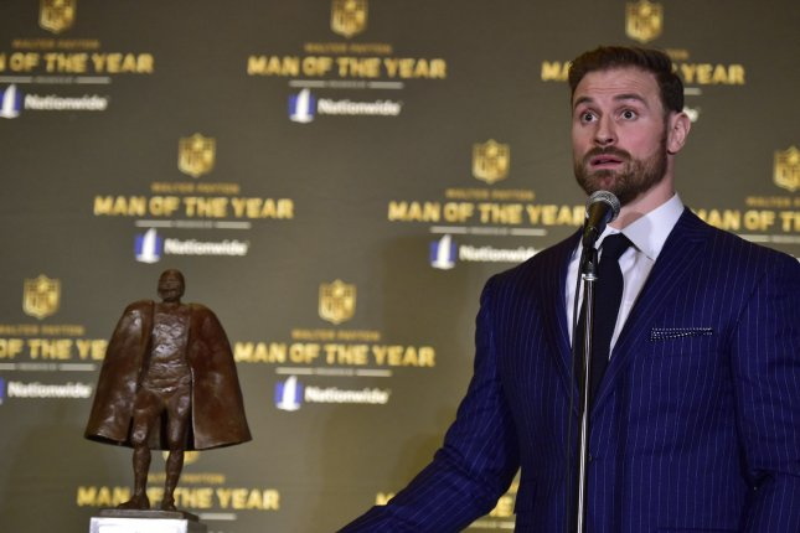 Philadelphia Eagles DE Chris Long had 6.5 sacks and won the Walter Payton Man of the Year award in 2018. File Photo by David Tulis/UPI