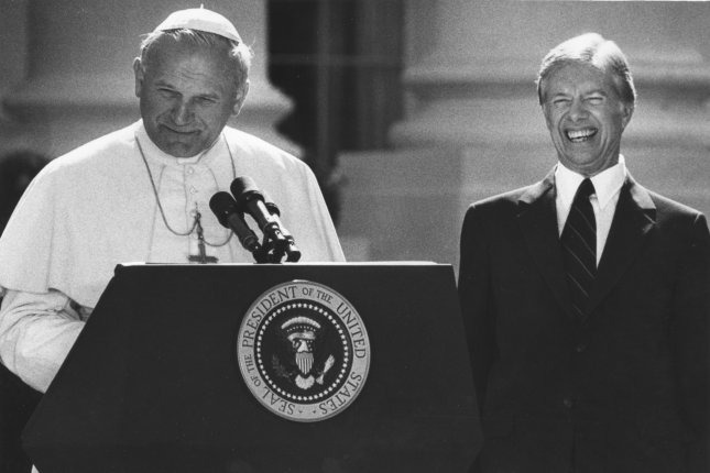 On October 6, 1979, Pope John Paul II becomes the first pontiff to visit the White House. UPI File Photo