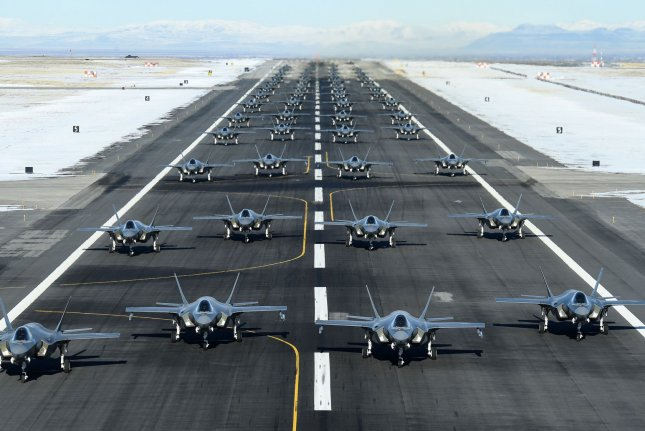The active-duty 388th and Reserve 419th Fighter Wings conducted an F-35A Combat Power Exercise at Hill Air Force Base, Utah, January 6, 2020. Photo by R. Nial Bradshaw/U.S. Air Force/UPI