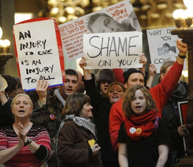 Protesters demonstrate inside the Wisconsin State Capitol on March 10, 2011 in Madison, Wisconsin. UPI/David Banks