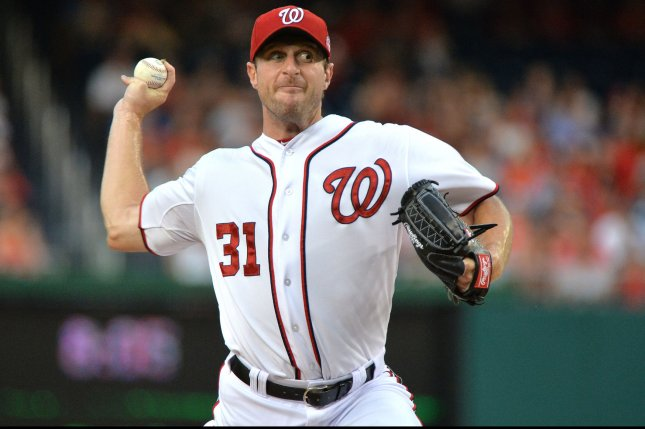 Washington Nationals starting pitcher Max Scherzer. Photo by Kevin Dietsch/UPI