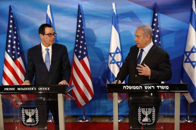 U.S. Treasury Secretary Steven Mnuchin (L) and Israeli Prime Minister Benjamin Netanyahu deliver joint statements during their meeting in Jerusalem, Israel, on October 28, 2019. Pool Photo by Ronen Zvulun/UPI